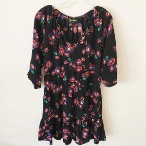 Yumi Kim Black Floral Silk Dress Small